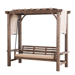 Sunjoy Julia 3-Seat Pergola Swing with Adjustable Canopy - Wood Frame - Beige