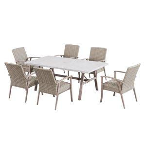 Ensemble salle à manger d'extérieur Ralston de Sunjoy Ralston, acier brun, 7 pièces