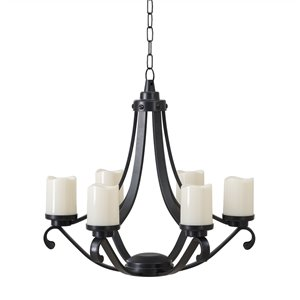Sunjoy Calyx Outdoor Chandelier with 6 Battery-Powered LED Candles - Black Plastic