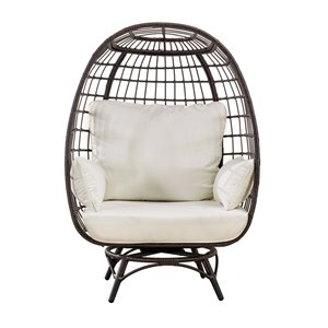 Sunjoy Pearl Swivel Patio Egg Chair with Removable Cushions - Steel - Dark Brown