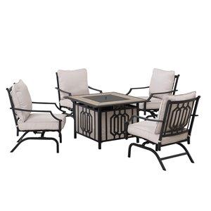 Mobilier de conversation extérieur de Sunjoy avec coussins beiges, métal noir, 5 pièces