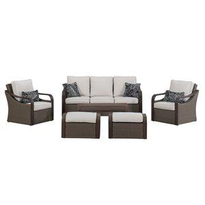 Sunjoy Rumney Conversation Set with Beige Cushions - Dark Brown Metal - 6-Piece