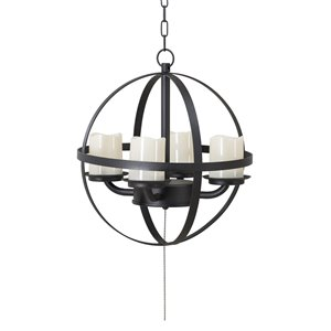 Sunjoy Spherical Outdoor Chandelier with 4 Battery-Powered LED Candles - Black