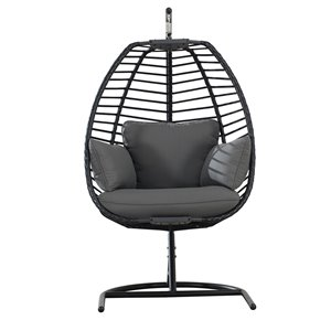 Sunjoy Clyde Hanging Egg Chair with Removable Cushions - Steel - Black