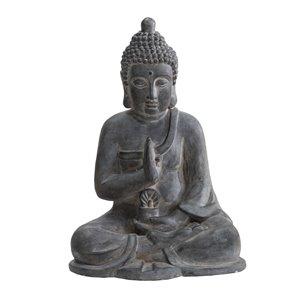 Sunjoy Crown Decorative Buddha Garden Statue - 19.69-in - Dark Grey
