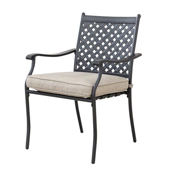 Sunjoy Morrison Patio Dining Set with Beige Cushions - Black Aluminum - 5-Piece