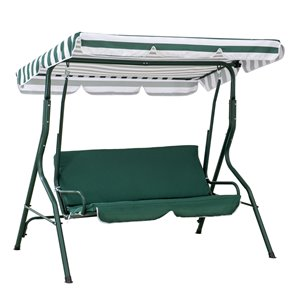 Sunjoy 2-Seat Porch Swing with Adjustable Canopy - Steel Frame - Green
