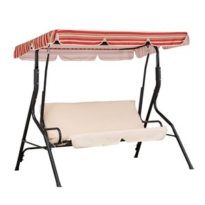 Sunjoy 2-Seat Porch Swing with Adjustable Canopy - Steel Frame - Red