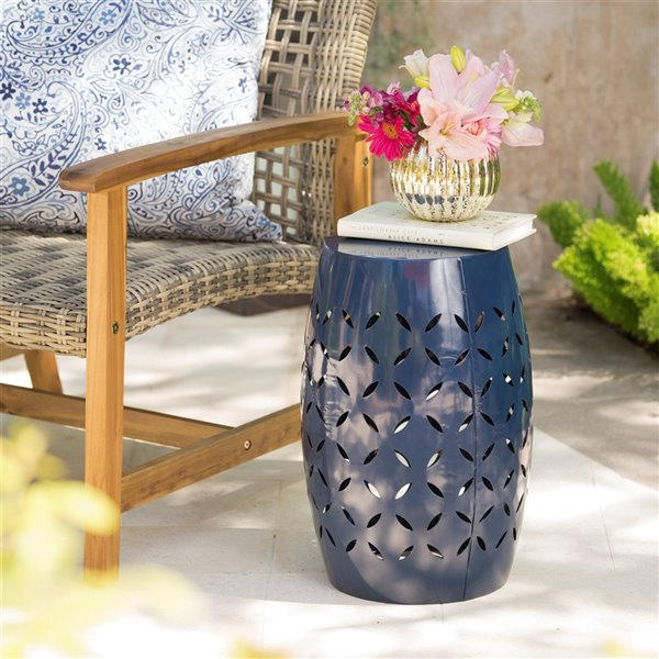 Nobel House Lilac Outdoor 12-in Dark Blue Iron Side Table