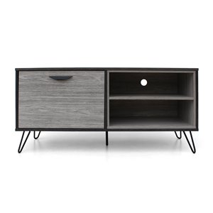 Noble House Veda Mid-Century Modern Two-Toned Gray Oak Finished Faux Wood TV Stand