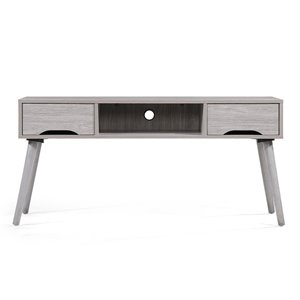 Noble House Frieda Mid-Century Modern Gray Oak Finished Fiberboard Entertainment Center