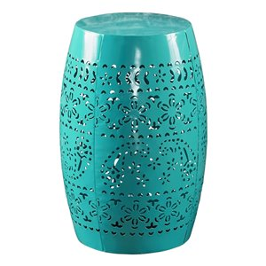 Noble House Apollos Lace Cut Teal Iron Accent Table