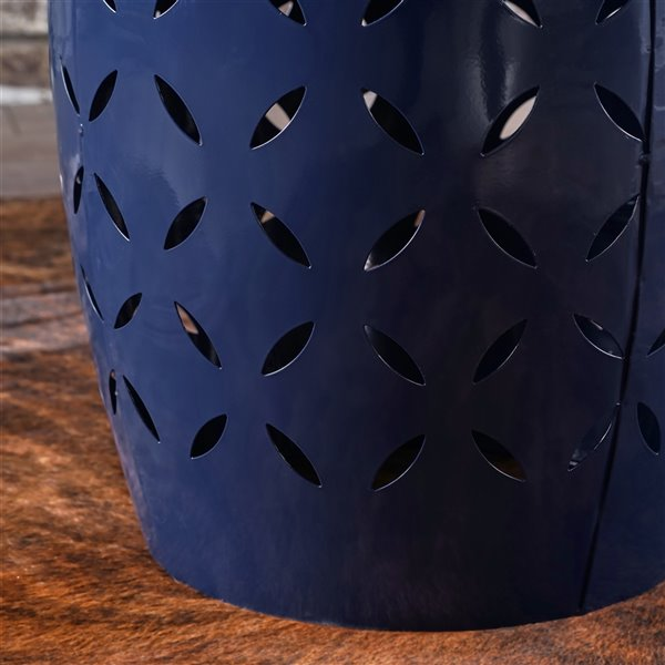 Noble House Jorell Lace Cut Dark Blue Iron Accent Table