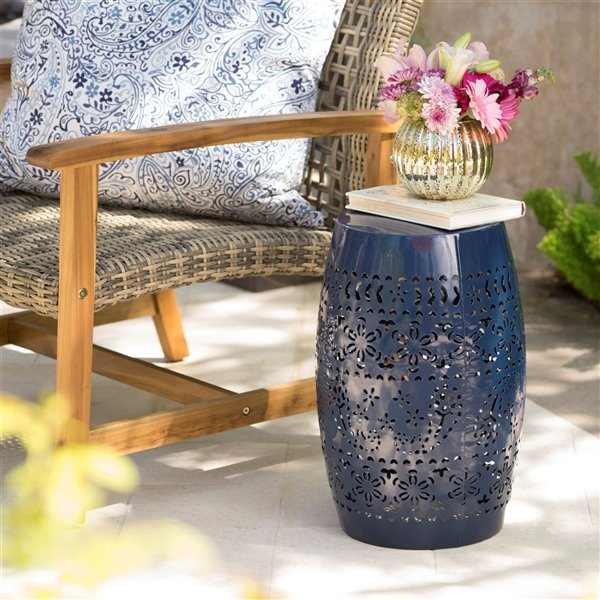 Noble House Ruby Outdoor 12-in Dark Blue Iron Side Table