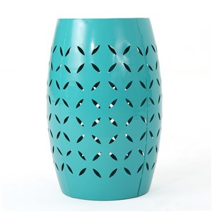 Noble House Lilac Outdoor 12-in Teal Iron Side Table