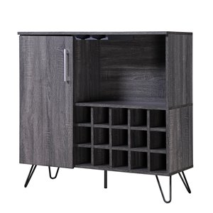 Noble House Lochner Mid-Century Sonoma Gray Oak Faux Wood Wine and Bar Cabinet