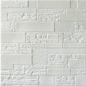 Dundee Deco Falkirk Jura II Peel and Stick 3D Wall Panel - Faux Bricks and Stones - 28-in x 28-in - Off-White