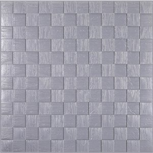 Dundee Deco Falkirk Jura II Peel and Stick 3D Wall Panel - Cubes - 28-in x 28-in - Silver Grey