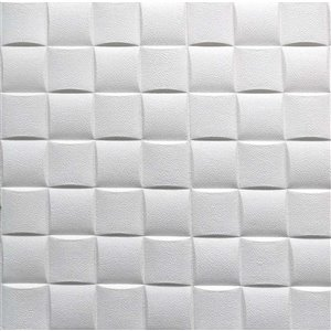 Dundee Deco Falkirk Jura II Peel and Stick 3D Wall Panel - Cubes - 28-in x 28-in - Off-White - 5-Pack