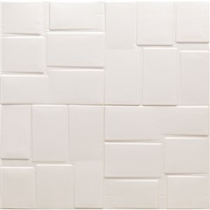 Dundee Deco Falkirk Jura II Peel and Stick 3D Wall Panel - Rectangles - 28-in x 28-in - Off-White and Cream - 10-Pack