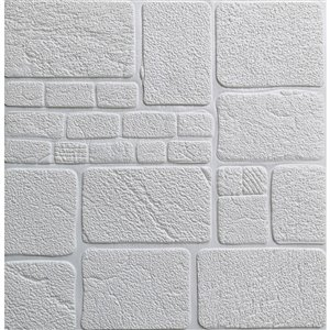 Dundee Deco Falkirk Jura II Peel and Stick 3D Wall Panel - Faux Stones - 28-in x 28-in - Cream and Grey