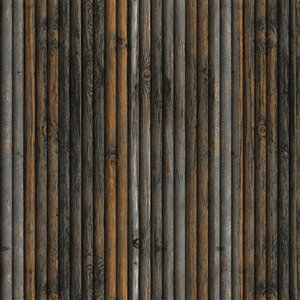 Dundee Deco Falkirk Jura II Peel and Stick 3D Wall Panel - Faux Wood - 28-in x 28-in - Charcoal/Blue/Orange - 5-Pack