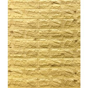 Dundee Deco Falkirk Jura II Peel and Stick 3D Wall Panel - Faux Bricks - 28-in x 30-in - Greenish Brown - 10-Pack