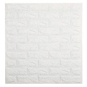 Dundee Deco Falkirk Jura II Peel and Stick 3D Wall Panel - Faux Bricks - 28-in x 30-in - White - 5-Pack