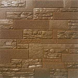 Dundee Deco Falkirk Jura II Peel and Stick 3D Wall Panel - Faux Bricks and Stones - 28-in x 28-in - Bronze and Brown