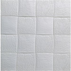 Dundee Deco Falkirk Jura II Peel and Stick 3D Wall Panel - Cubes - 28-in x 28-in - Off-White and Grey - 10-Pack