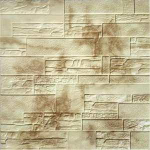Dundee Deco Falkirk Jura II Peel and Stick 3D Wall Panel - Faux Bricks - 28-in x 28-in - Beige and Brown - 5-Pack