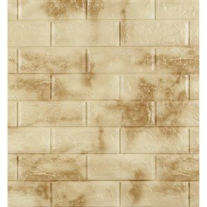 Dundee Deco Falkirk Jura II Peel and Stick 3D Wall Panel - Faux Bricks - 28-in x 30-in - Yellow and Cream - 10-Pack