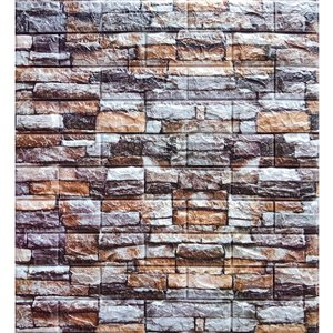 Dundee Deco Falkirk Jura II Peel and Stick 3D Wall Panel - Faux Bricks - 28-in x 30-in - Greenish Brown