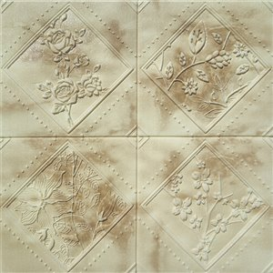 Dundee Deco Falkirk Jura II Peel and Stick 3D Wall Panel - Flowers in Rhombus - 28-in x 28-in - Beige and Brown