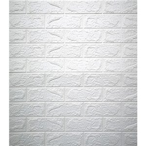 Dundee Deco Falkirk Jura II Peel and Stick 3D Wall Panel - Faux Bricks - 28-in x 30-in - Off-White
