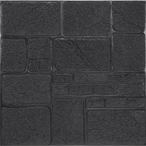 Dundee Deco Falkirk Jura II Peel and Stick 3D Wall Panel - Faux Bricks - 28-in x 28-in - Charcoal - 10-Pack