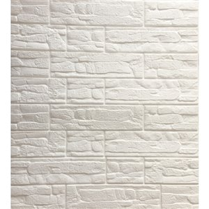 Dundee Deco Falkirk Jura II Peel and Stick 3D Wall Panel - Faux Bricks - 28-in x 28-in - Off-White and Cream - 10-Pack