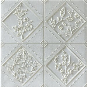 Dundee Deco Falkirk Jura II Peel and Stick 3D Wall Panel - Flowers in Rhombus - 28-in x 28-in - Off-White