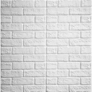 Dundee Deco Falkirk Jura II Peel and Stick 3D Wall Panel - Faux Bricks - 28-in x 28-in - Off-White - 5-Pack