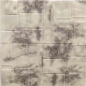 Dundee Deco Falkirk Jura II Peel and Stick 3D Wall Panel - Faux Marble - 28-in x 28-in - Beige and Charcoal - 10-Pack