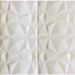 Dundee Deco Falkirk Jura II Peel and Stick 3D Wall Panel - Diamonds - 28-in x 28-in - Off-White and Cream - 10-Pack
