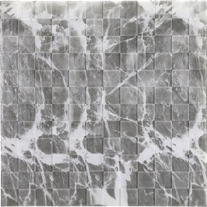 Dundee Deco Falkirk Jura II Peel and Stick 3D Wall Panel - Faux Marble Cubes - 28-in x 28-in - Grey and Off-White
