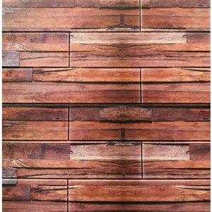 Dundee Deco Falkirk Jura II Peel and Stick 3D Wall Panel - Faux Planks - 28-in x 28-in - Red and Orange - 5-Pack