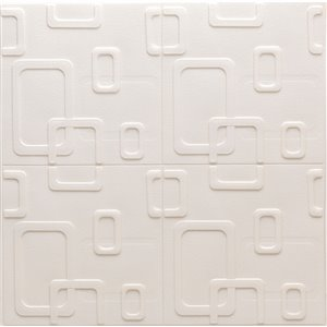 Dundee Deco Falkirk Jura II Peel and Stick 3D Wall Panel - Circular Shapes - 28-in x 28-in - Cream and Beige - 10-Pack