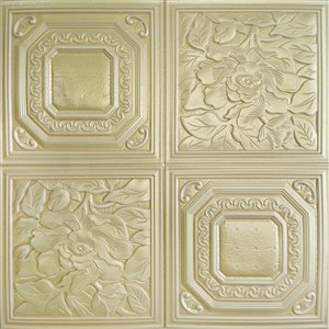 Dundee Deco Falkirk Jura II Peel and Stick 3D Wall Panel - Flowers - 28-in x 28-in - Green and Gold - 10-Pack
