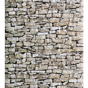 Dundee Deco Falkirk Jura II Peel and Stick 3D Wall Panel - Faux Stones - 28-in x 30-in - Beige and Off-White - 5-Pack