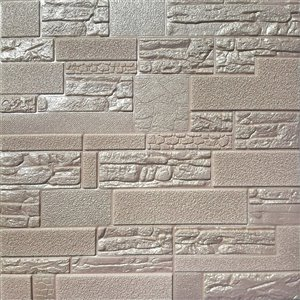 Dundee Deco Falkirk Jura II Peel and Stick 3D Wall Panel - Faux Bricks and Stones - 28-in x 28-in - Pale Copper - 5-Pack