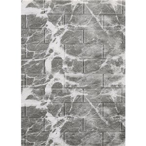 Dundee Deco Falkirk Jura II Peel and Stick 3D Wall Panel - Faux Marble Bricks - 28-in x 30-in - Grey and Off-White