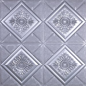 Dundee Deco Falkirk Jura II Peel and Stick 3D Wall Panel - Flowers in Diamonds - 28-in x 28-in - Dark Silver - 10-Pack