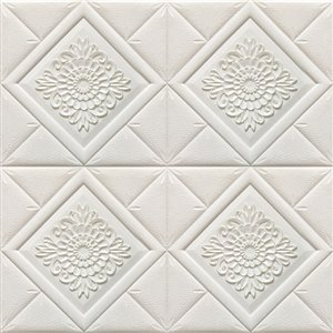 Dundee Deco Falkirk Jura II Peel and Stick 3D Wall Panel - Stylized Flowers in Diamonds - 28-in x 28-in - Off-White